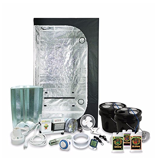 "Complete 2 x 3 (36""x22""x63"") Grow Tent Package With 250-Watt HPS Grow Light + DWC Hydroponic System & Advanced Nutrients"